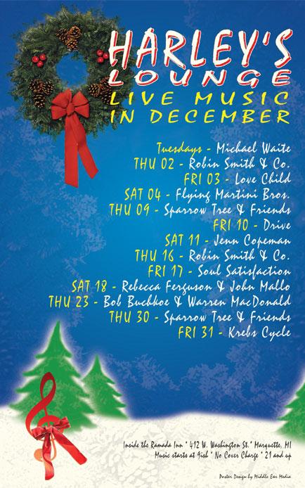 December 2010 Poster Design for Harley's Lounge