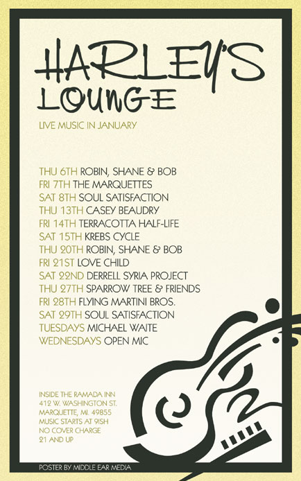 January 2011 Poster Design for Harley's Lounge