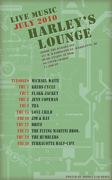 July 2010 Poster Design for Harley's Lounge