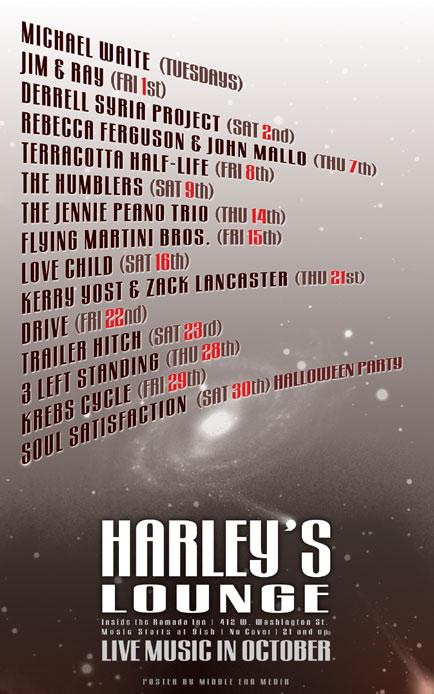 October 2010 Poster Design for Harley's Lounge