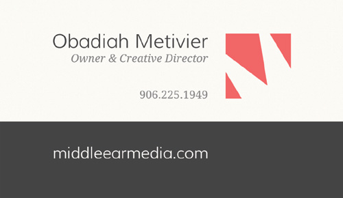 Logo and Business Card Design for Middle Ear Media - Back