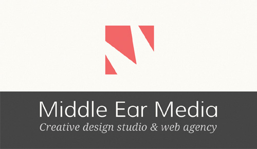 Logo and Business Card Design for Middle Ear Media - Front