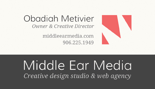 One-sided version of Business Card for Middle Ear Media