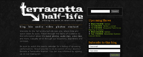 Screenshot of Terracottahalflife.com 2010