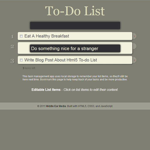 HTML5 To-do List