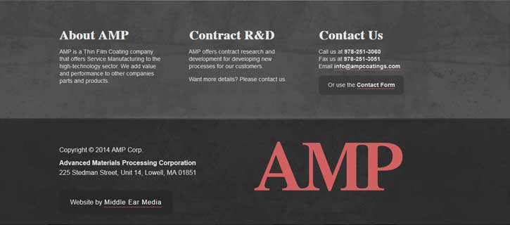 AMP Corp. Footer